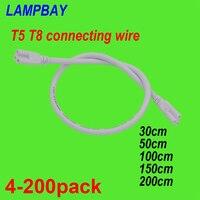 4-200 шт. T5 T8 Соединительный кабель 30 см 50 см 100 см 150 см 200 см 3-контактный проводной розеточный соединитель для светодиодный свет пробки интегри...
