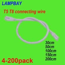 4 200 pcs T5 T8 연결 케이블 30 cm 50 cm 100 cm 150 cm 200 cm 3 핀 소켓 와이어 커넥터 주도 튜브 정착물