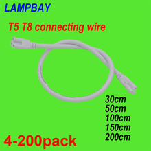 4 200pcs T5 T8 Connecting Cable 30cm 50cm 100cm 150cm 200cm 3 pin socket Wire Connector for  LED Tube Light Integrated Fixture
