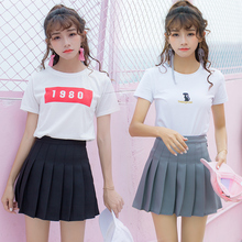 Casual Korean Pleat Lolita Sexy Summer Women Skirts High waist Skater Black White Purple School Girl