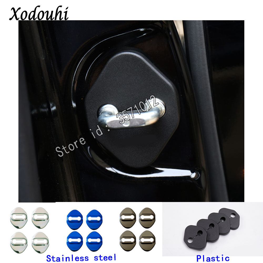 For Toyota RAV4 2019 2020 Car Styling Body Latch Stop Anti Rust Water Proof Door Lock Keys Key Protect Buckle Panel Parts 4pcs