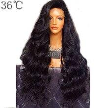Paff Синтетические волосы на кружеве Человеческие волосы парик для черный Для женщин 250% плотность бразильский Для тела волна парик с предварительно сорвал отбеленные узлы не remy