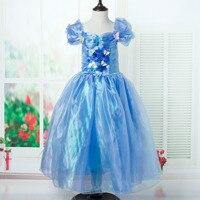 Summer Wear Cinderella Princess Girls Children Short Sleeved Dress Kids Clothing Blue Mesh Butterfly