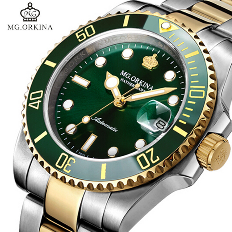 MG.ORKINA Green Stainless Steel 316L 40MM Case Auto Date Mens Mechanical Watches Diving Waterproof 30M Automatic Luminous WatchMG.ORKINA Green Stainless Steel 316L 40MM Case Auto Date Mens Mechanical Watches Diving Waterproof 30M Automatic Luminous Watch