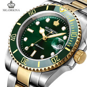 MG.ORKINA Green Stainless Steel 316L 40MM Case Auto Date Men\'s Mechanical Watches Diving Waterproof 30M Automatic Luminous Watch - DISCOUNT ITEM  65% OFF Watches