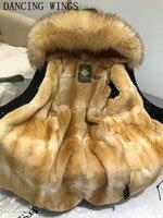 Элитная норки внутри зимняя куртка, Пальто Природные большой енот меховой воротник с капюшоном женщин толстые парки верхняя одежда