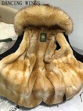 Luxury real mink fur lining winter jacket coat natural big raccoon fur collar hooded women thick parkas outwear