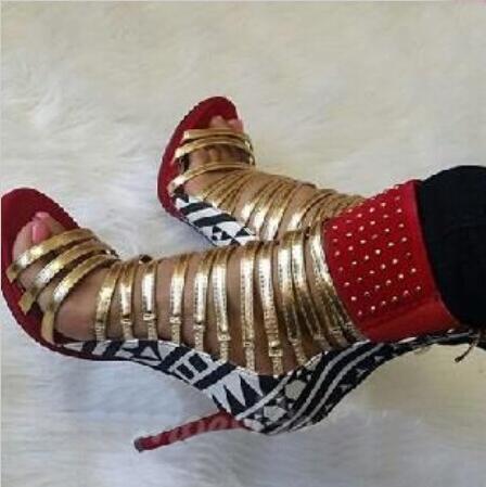 Высококачественные женские открытые ботинки на шпильки с украшением, Летние кожаные женские ботинки-гладиаторы на высоком каблуке