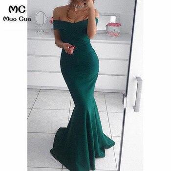 Verde azulado 2018 sirena de hombro vestidos de noche largos de satén elástico cremallera espalda manga corta vestido de fiesta Formal de noche vestido de fiesta
