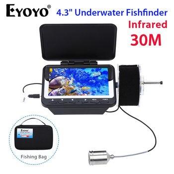 Eyoyo 4.3 LCD TFT Monitor 30M IR FishFinder Detector Underwater Fishing Camera+Bag Night Vision Waterproof Fix On Rod Portable EYOYO