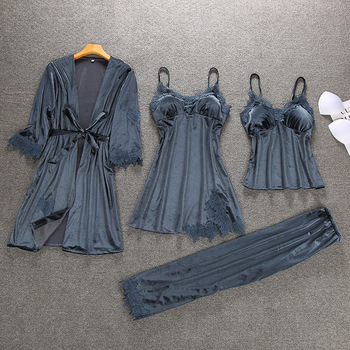 4pcs Strap Top Pants Suit Sleepwear Sets