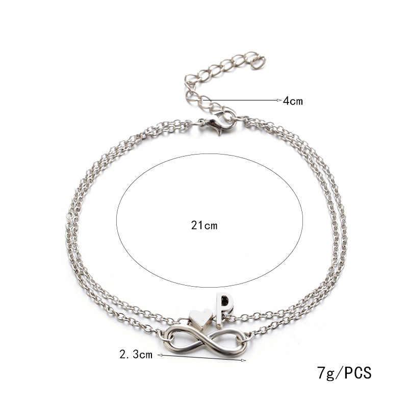 2019 Винтажный серебряный ножной браслет для женщин с буквенным сердечком, богемная подвеска бохо, ювелирные изделия, браслеты для женщин, Прямая поставка
