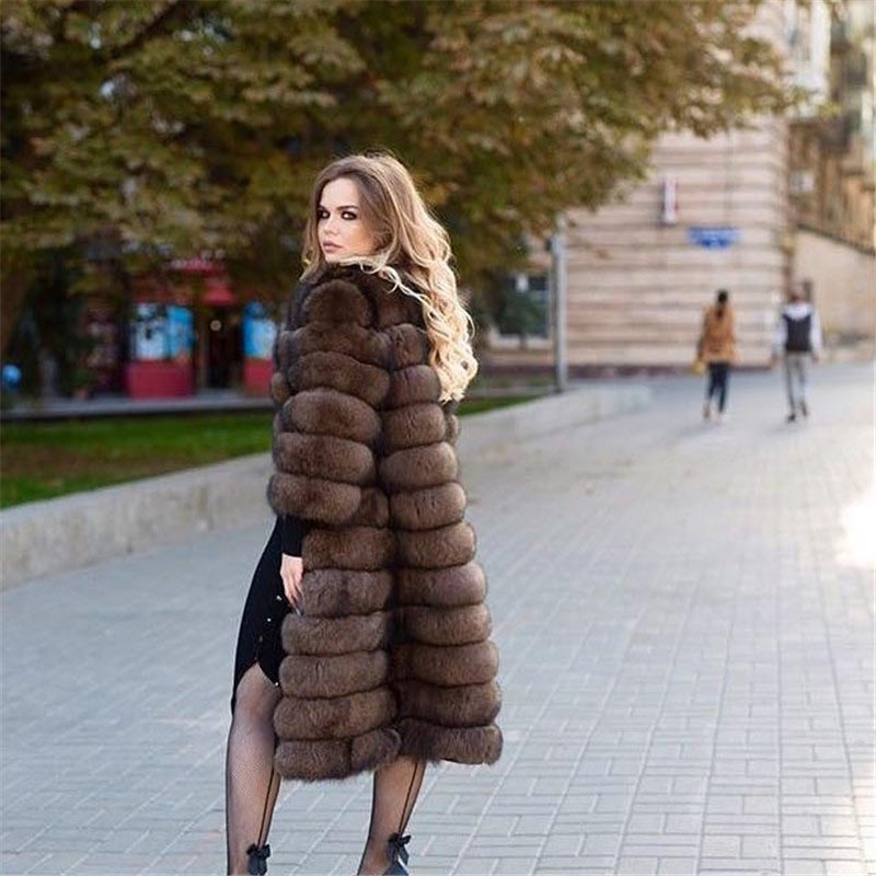 TOPFUR New Fashion Real Fur Coat For Women Winter Natrual Fox Fur Jacket  2018 Luxury 120cm Long Winter Real Fur For Female