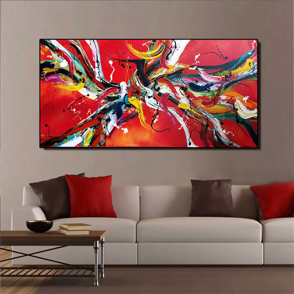 AAVV  Free Red  Wall Painting Canvas For Wall Art Decoration Oil Painting Picture Home For Living Room Home Decor No Frame