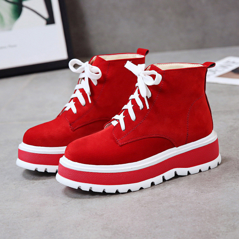 Chaud 2018 Fourrure black Couleur De red High Solide Automne D'hiver Sneakers Femmes Chaussures Femme Top Casual forme Plate Hiver Beige ZUYpqaxU