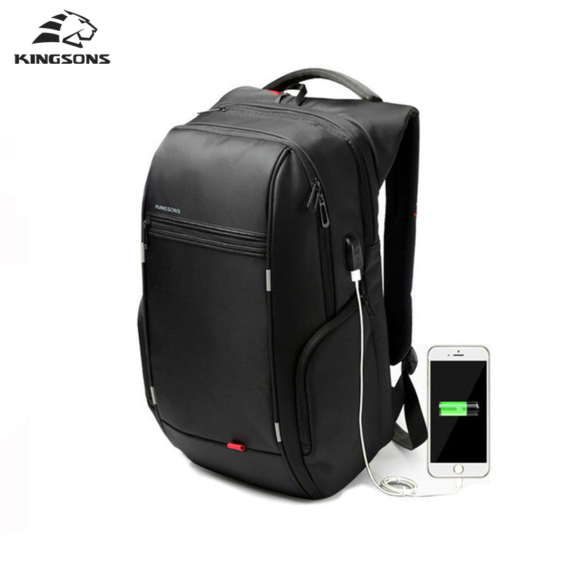 Kingsons 13 15 17 inch Black Business Water Resistant Polyester Laptop Backpack with USB Charging Port Notebook and Computer Bag