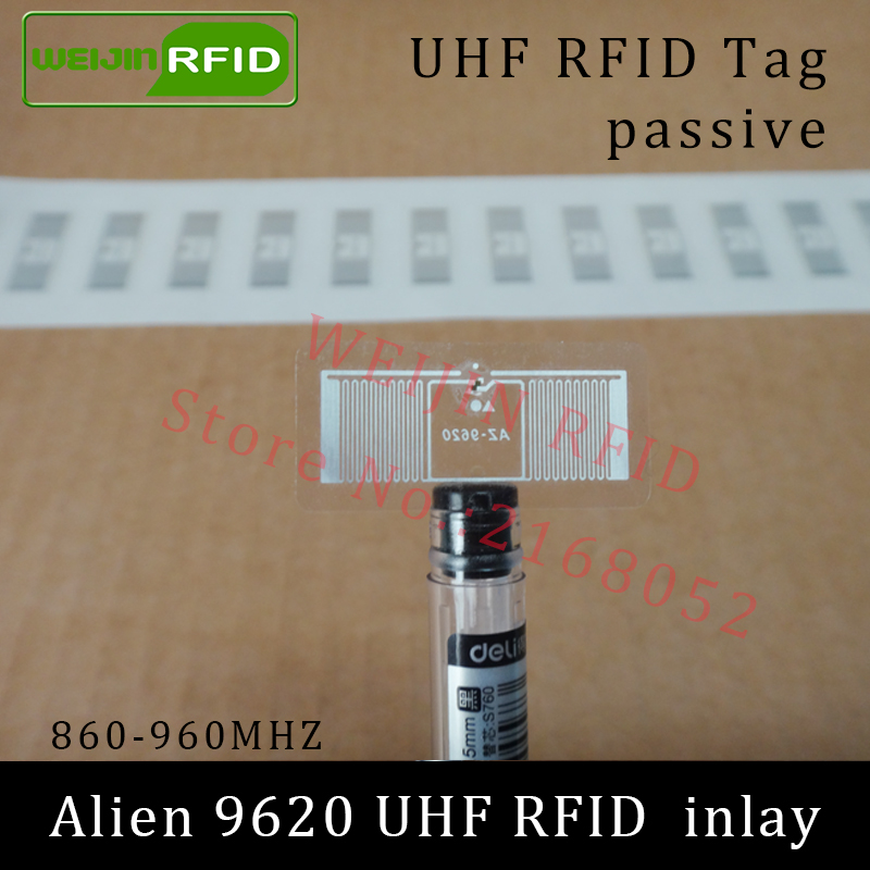 UHF RFID tag Alien 9620 dry inlay 915mhz 900mhz 868mhz 860-960MHZ Higgs3 EPC C1G2 ISO18000-6C smart card passive RFID tags label 1000pcs long range rfid plastic seal tag alien h3 used for waste bin management and gas jar management
