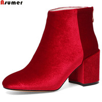 ASUMER black red green fashion new arrivel women shoes square toe zipper ladies boots flock square heel high heels ankle boots