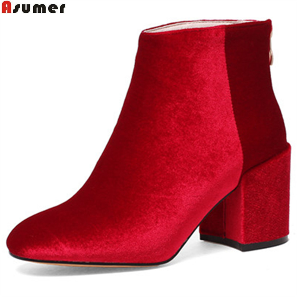 ASUMER black red green fashion new arrivel women shoes square toe zipper ladies boots flock square heel high heels ankle boots new arrival women ankle boots square heel shoes women fashion footwear comfortable new designers zipper western ladies zapatos
