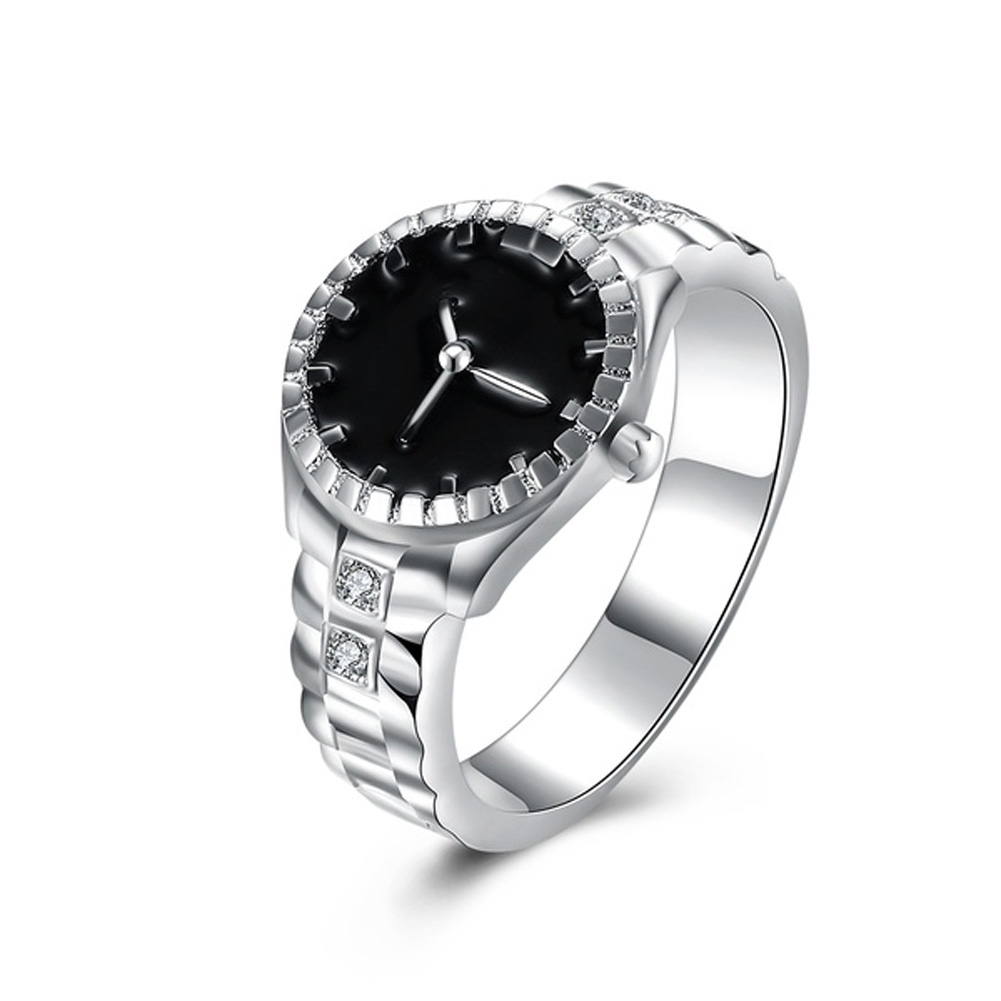 zheFanku Euramerican Silver Plated Wedding Bands Watch Ring,Casual Men and Women Jewelry Cool Accessory Ring
