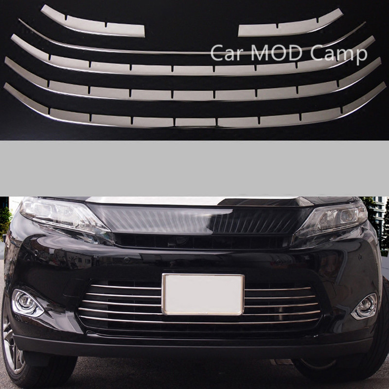 For Toyota Harrier 2013 2014 2015 2016 XU60 Stainless Steel Front Bottom Grille Grill Cover Decoration Trim 6pcs Car Styling! car body cover abs chrome lamp trim head front bottom grid grill grille modling strip frame 1pcs for toyota rav4 2014 2015 2016