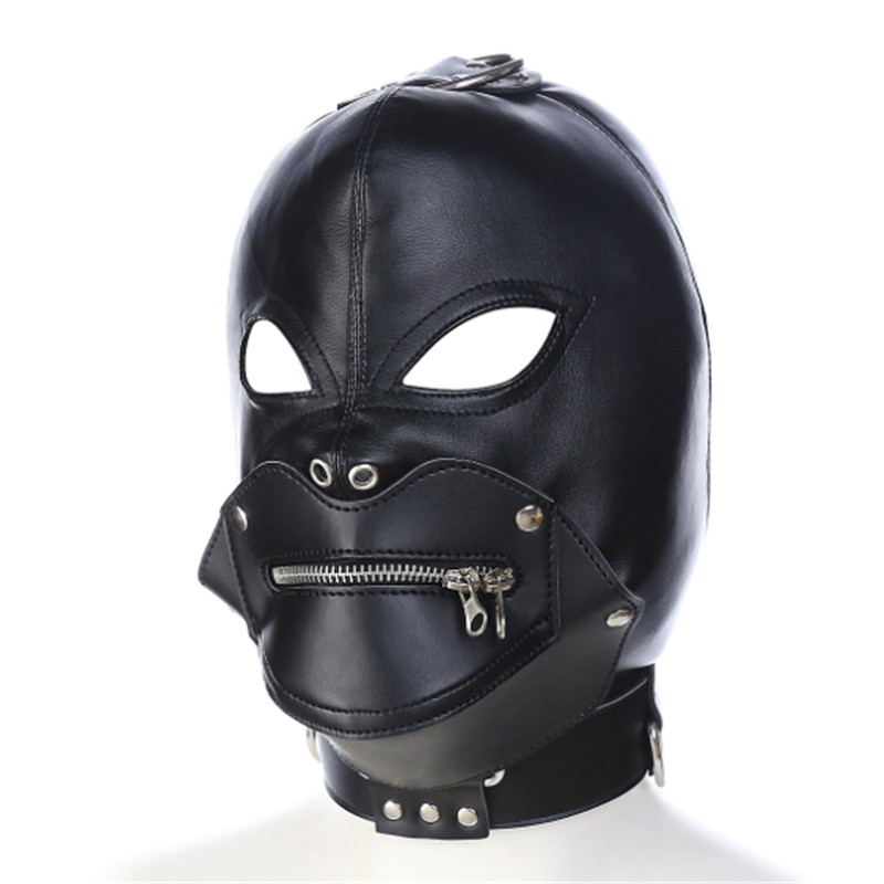 Pu Black color Leather Bondage cover head Mask open eye mouth with zipper  Masks Costumes Accessory Sexy Fetish Hood -in Boys Costume Accessories from  ...