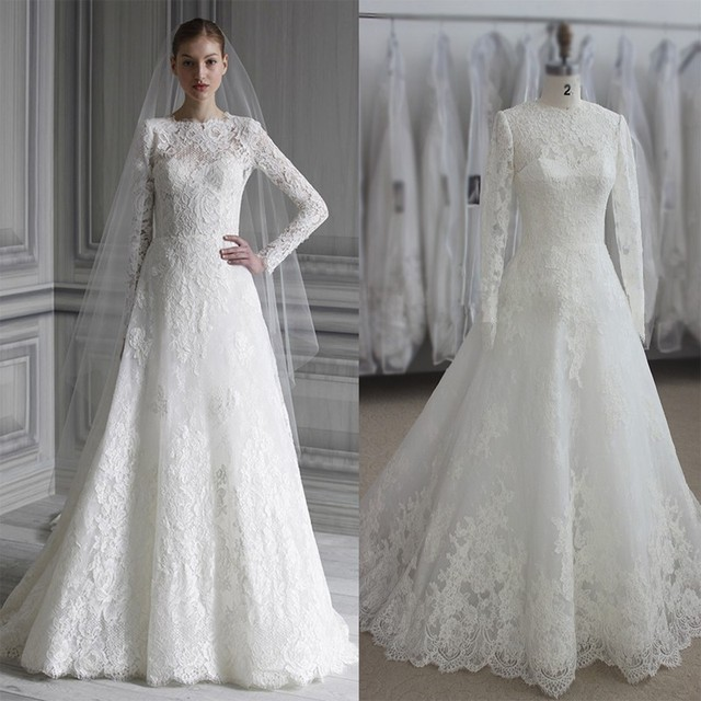 Elegant Long Sleeve Wedding Dress Muslim 2017 Simple White Vintage Lace Bridal Gowns High Neck