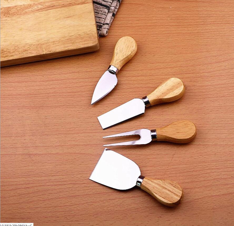 סיטונאי 100 סטים * 4 יחידות/סטי סכיני הפייטן אלון סט סכין גבינת ידית ערכת כלי בישול מטבח שימושי אביזרי