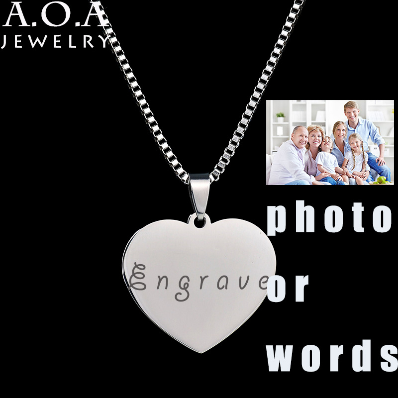 Personalized Stainless Steel Name Pendant Necklace Heart Love Engrave Photo Name Necklace For Family Gift ...