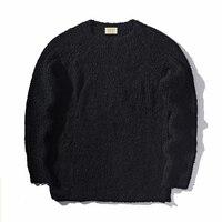 Kanye West Loose Fit Solid Color Sweater Forky Side Design Mens Hip Hop Kpop Clothing Crewneck