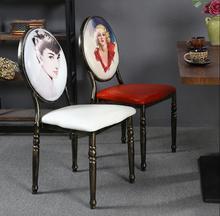 European retro chair coffee shop milk tea iron manicure