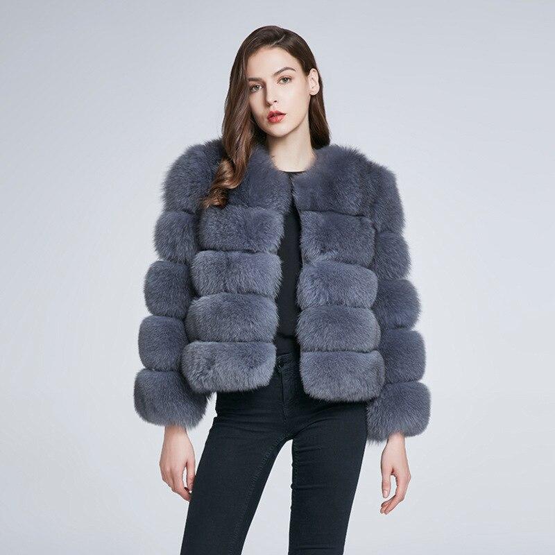Manteaux Chauds Femmes Renard Gilet Réel 2018 D'hiver Naturelle De Véritable Gris Fourrure Manteau Outwear Nouvelle Manches Veste Amovible nZ6YFq4