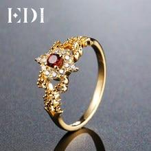 d9dbf64aa5d0 EDI 3mm genuino granate natural Lab crecido moissanite diamante 14 K oro  amarillo Anillos para las mujeres Joyería fina Navidad .