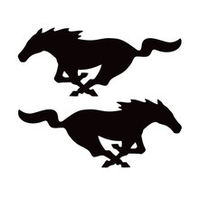 22cm * 8,8 cm 2X Mustang Horse (1 Rechts & 1 Links) mode Vinyl Aufkleber Schwarz Silber Auto Aufkleber Auto-styling S6-2751