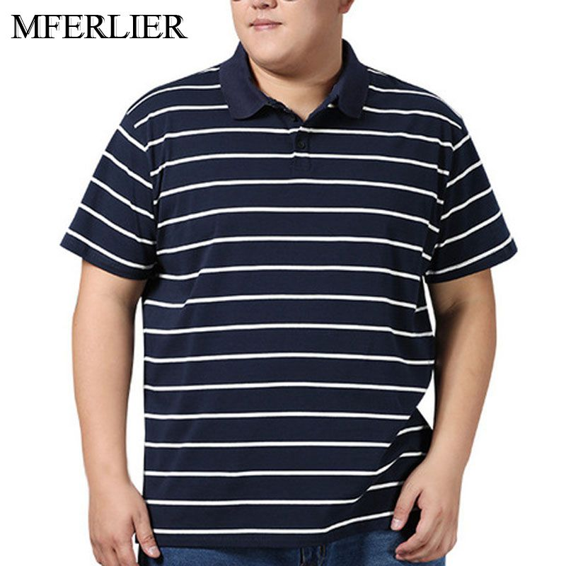 Summer <font><b>polo</b></font> <font><b>shirt</b></font> <font><b>men</b></font> 5XL 6XL 7XL <font><b>8XL</b></font> Bust 142cm plus size Loose short sleeve Striped <font><b>men</b></font> <font><b>polo</b></font> image