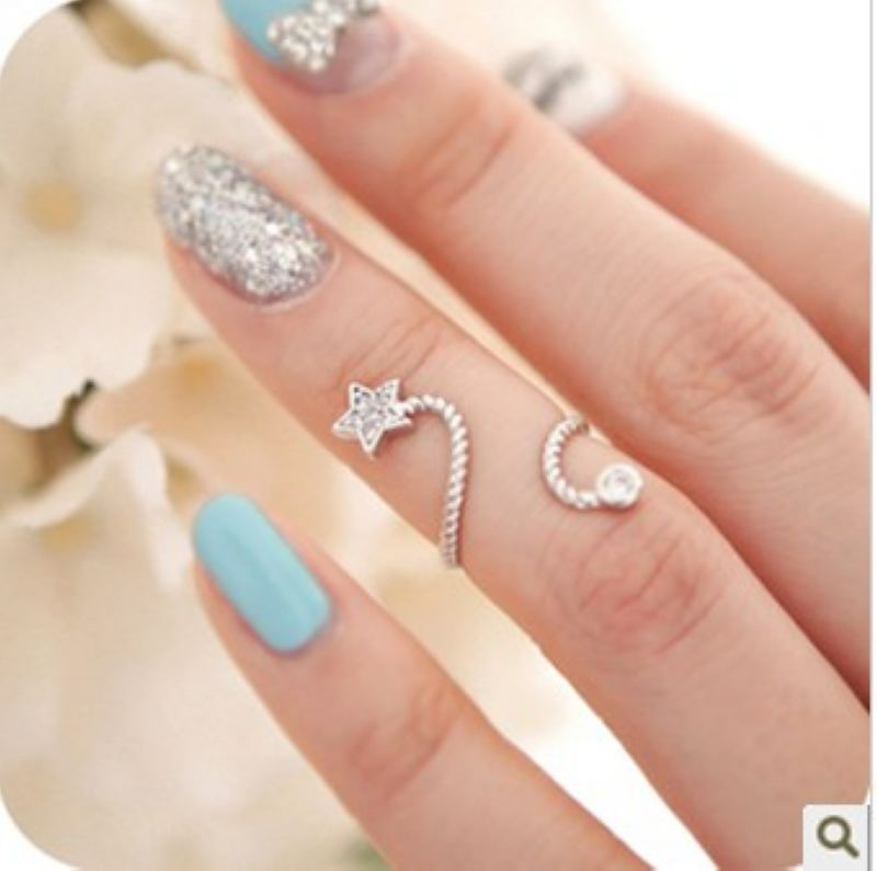 Knuckle Twisted Band Mid Finger Nail Ring Accessories Rhinestone Star Flower Butterfly 0pening Spiral - 0.9$ FreeShipping Parts store