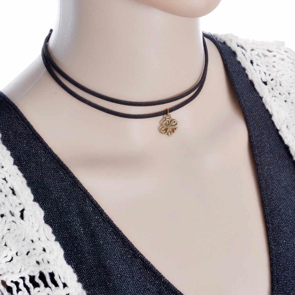hot sale lowest price Celebrity Double Layer Black Imitation Leather Choker Necklace Gothic simple black r vintage necklace
