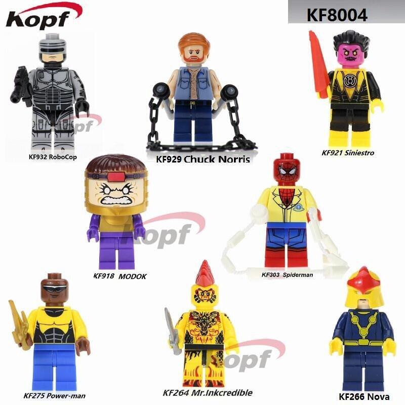 Super Heroes Power-man Spiderman Chuck Norris Nova Mr. Inkcredible Yellow Lantern Modok Building Blocks Toys For Children KF8004