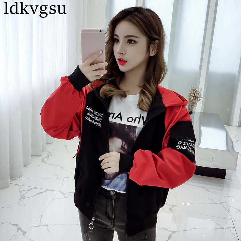 Coat Short Long Spring Black V302 Baseball Uniform red New Korean Jacket Harajuku Autumn Loose sleeved 2019 Women OHA1xwvq