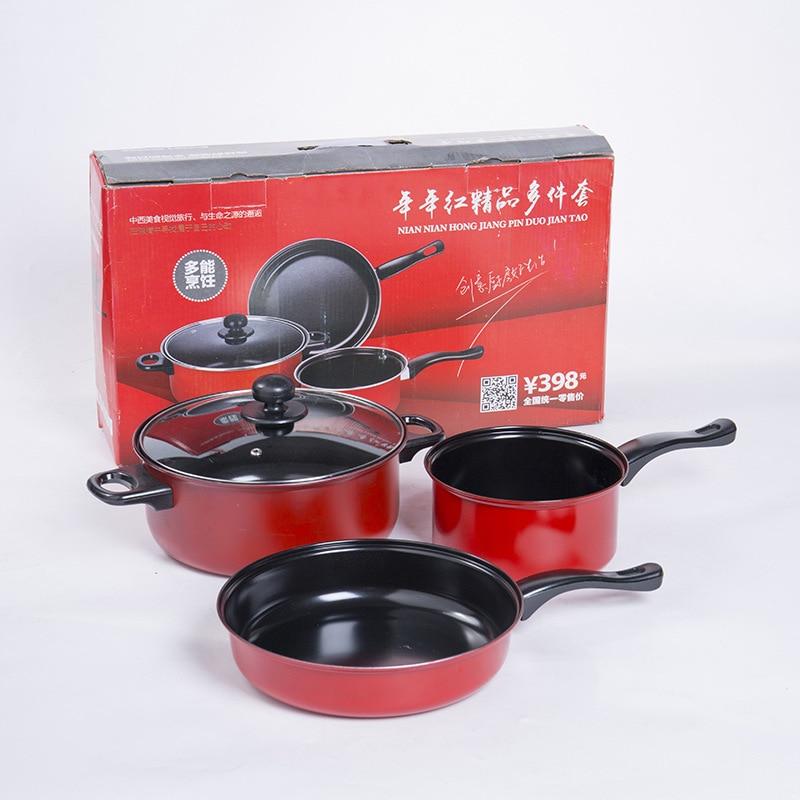 3 pièces/ensemble poêle antiadhésive Cooware Set spatule soupe Pot titulaire fonte casserole Combo outils de cuisson