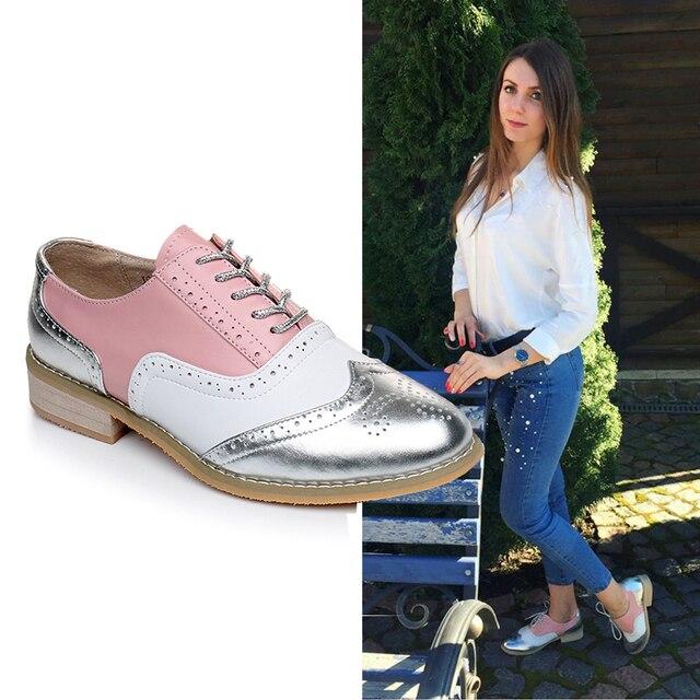 Donne oxford scarpe Primavera mocassini di cuoio genuini per la donna sneakers stringate femminile delle signore singoli pattini della cinghia di estate scarpe