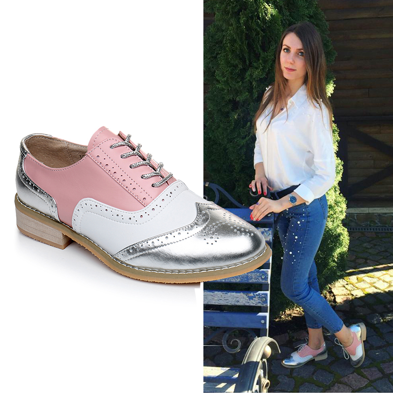 Image 1 - Women oxford Spring shoes genuine leather loafers for woman sneakers female oxfords ladies single shoes strap 2019 summer shoes-in Women's Flats from Shoes