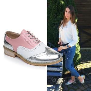 Image 1 - Zapatos oxford de piel auténtica para mujer, zapatillas oxford, zapatos con correas, para primavera