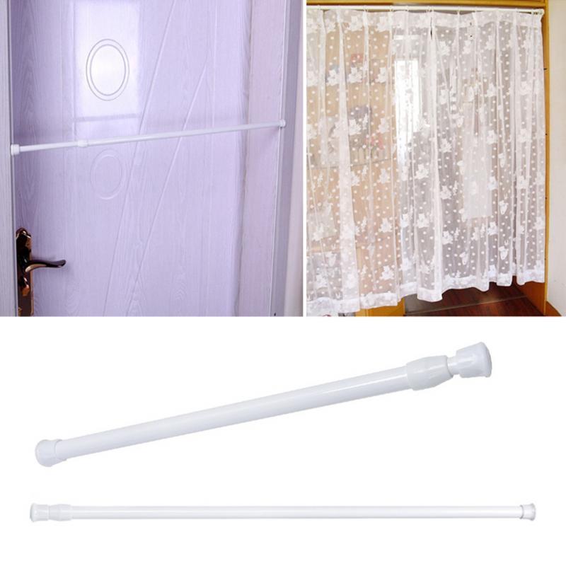 1Pc Adjustable Spring Loaded Bathroom Shower Curtain Rod Tension Extendable Telescopic Poles Rail Hanger White