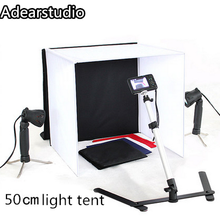 4 Colors Backdrops 50W Halogen Lamps Copy Stand 50cm Photo Studio Photography Square Light Tent kit CD50