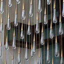 Gold Water Drop Crystal Creative Pendant Light European-style Luxury LED Lamps Moderm Glass Indoor Lighting Restaurant