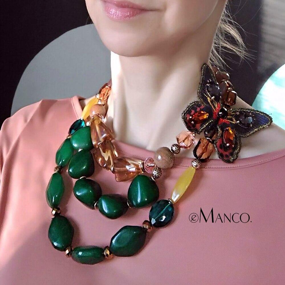 EManco ethnique Style rétro tendance Multi couches collier pour femmes vert résine papillon mode bijoux accessoires détachables