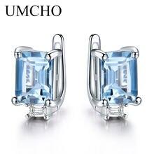 0ef4695edac4 UMCHO cielo azul Topacio pendientes de Clip para las mujeres sólido 925 de  princesa Cut moda plata 925 joyería Birthstone regalo.