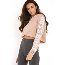 Women Sweatshirt Hoodies Cropped Short Tracksuit Long Sleeve Crop Top Hooded Pullover Moletom Feminino Pink /Black /White /Gray