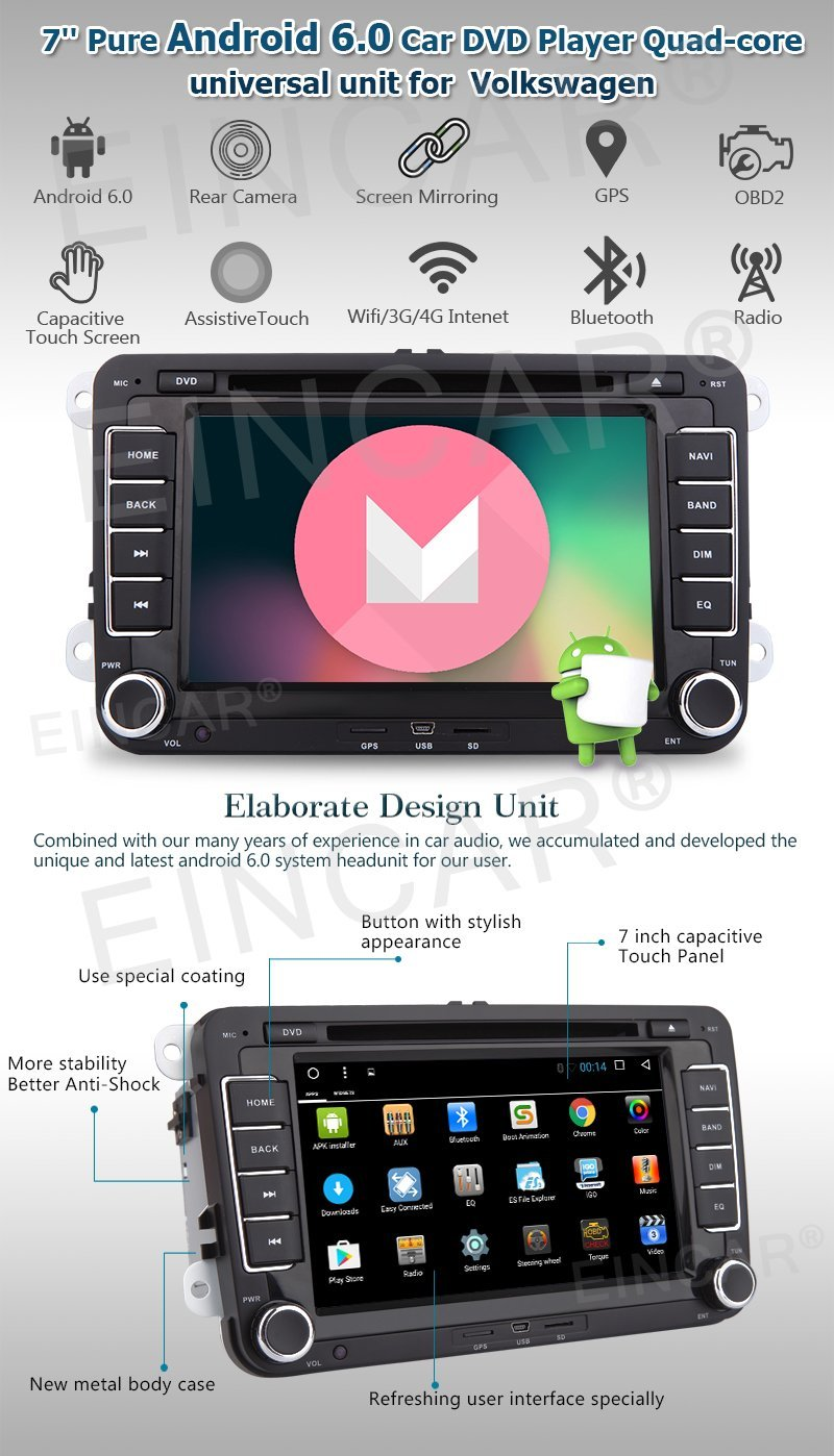 7 inch Android 6.0 Head Unit Double Din Car Stereo for Jetta Golf Passat EOS Support GPS Sat Nav Phone Link Car Radio Bluetooth